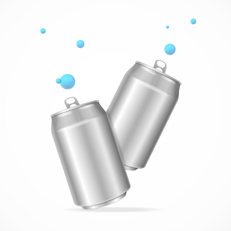 Realistic Steel Cans Set. vector illustration.
