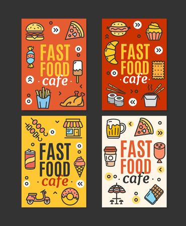 Fastfood and Street Food Flyer Banner Posters Card Set. Vector
