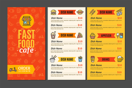 Fastfood and Street Food Menu Cafe. vector illustration. Illustration