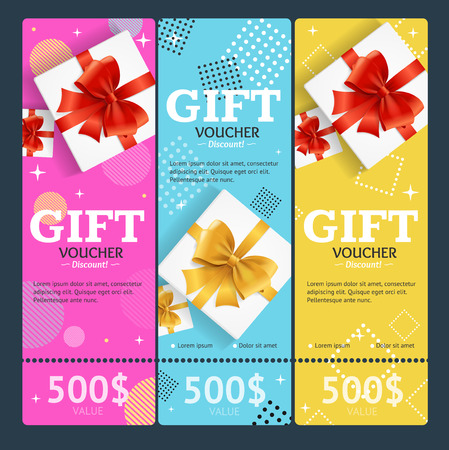 certificate template: Gift Voucher Card Set Template Monetary Value Coupon. Vector Illustration