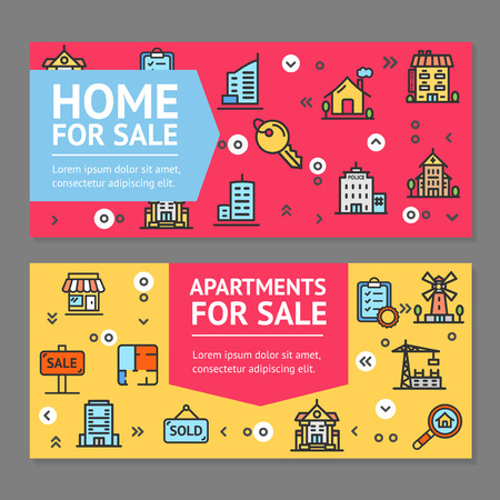real estate sold: Building House or Home and Apartment for Sale Flyer Banner Posters Card Set. Vector