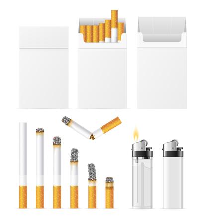 Realistic Cigarette and Accessory Set. Vector