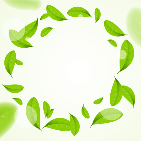 Realistic Green Leaves Circle Frame Background. Vector