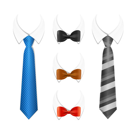 Realistic 3d Detailed Tuxedo Tie, Bow and Shirt Set. Vector