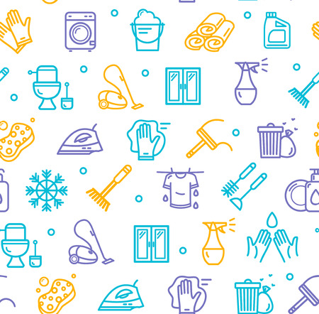 Household and Cleaning Tools Pattern Background on a White. Vector Illustration