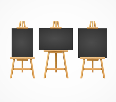 Black Board Easel Blank Empty Template Set. Vector
