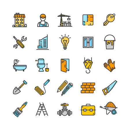 Building Construction Elements and Tools Color Thin Line Icon Set. Vector
