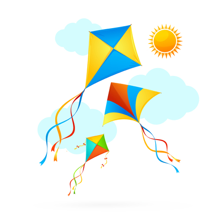 Flying Kite and Clouds on a Sky Summer Concept Background. Vector