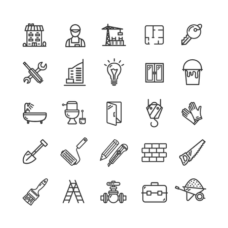 Building Construction Elements and Tools Black Thin Line Icon Set. Vector Çizim