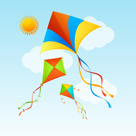 Flying Kite and Clouds on a Blue Sky Summer Concept Background Holiday or Vacation Time. Vector illustration of Kites in Air Illustration