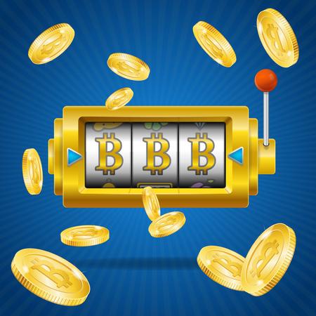 Gouden Bitcoin Mijnbouwconcept Win. Vector