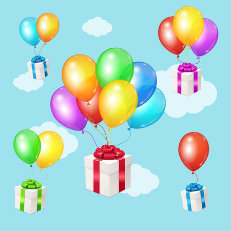 event party: Realistic 3d Detailed Color Balloons and Present Boxes on Blue Sky Background . Vector Illustration