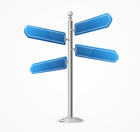 Realistic 3d Detailed Direction Road Signs Blank. Vector Illustration