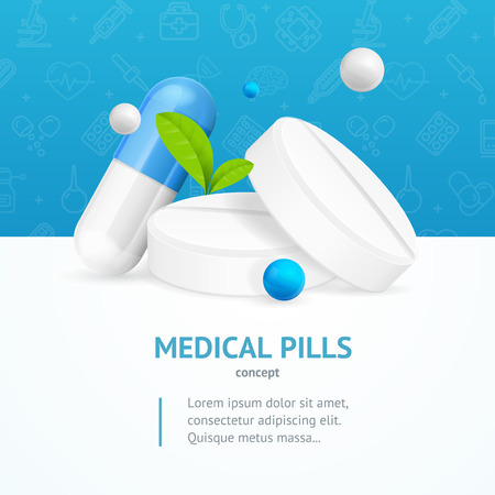 Realistic Detailed 3d Medical Pills Concept Card. Vector
