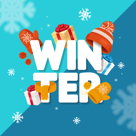 Winter holidays greeting card concept, vector illustration.