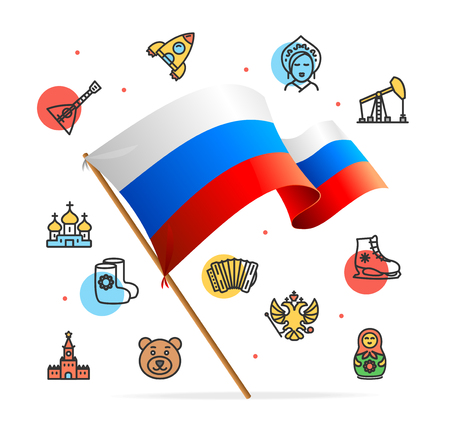 Russia Design Template Line Icon Concept and Flag. Vector