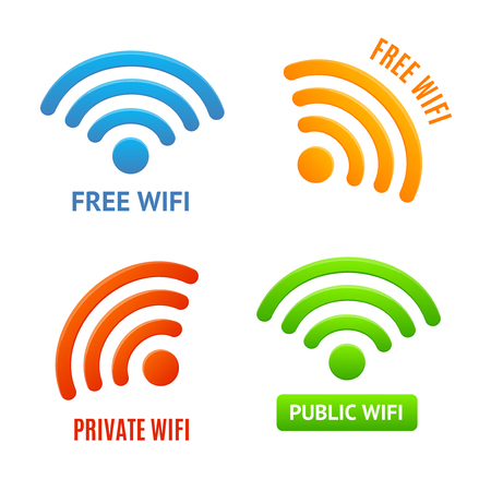 Realistic 3d Detailed Color Wifi Signs Icons Set. Vector Stock Photo