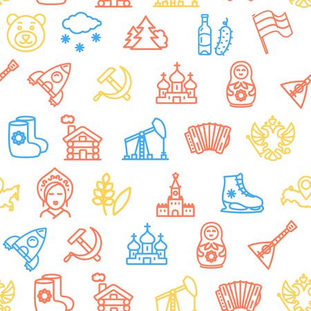 Russia Travel and Tourism Pattern Background on a White. Vector Stock Photo