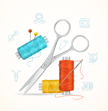 Sewing and Needlework Tools Concept. Vector