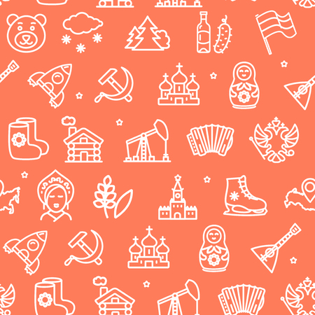 Russia Travel and Tourism Pattern Background on a Red for Business Include of Kokoshnik and Rocket. Vector illustration
