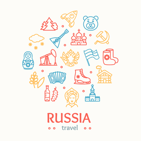 Russia Travel and Tourism Color Round Design Template Line Icon Concept Include of Snow and Cathedral. Vector illustration