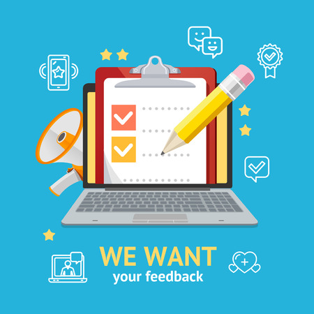 We Want Feedback Concept Vector Illustration.