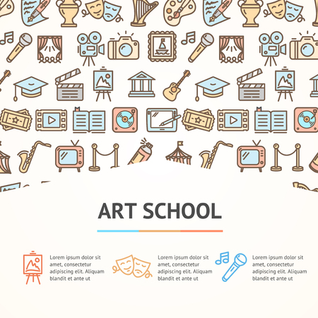 Art School Concept Infographics Banner vector illustration Иллюстрация