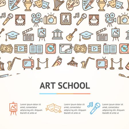 Art School Concept Infographics Banner vector illustration Vectores