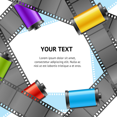 Realistic 3d Camera Film Roll Cartrige Photo Retro Banner Card Old Vintage Style Place for Text. Vector illustration Ilustração