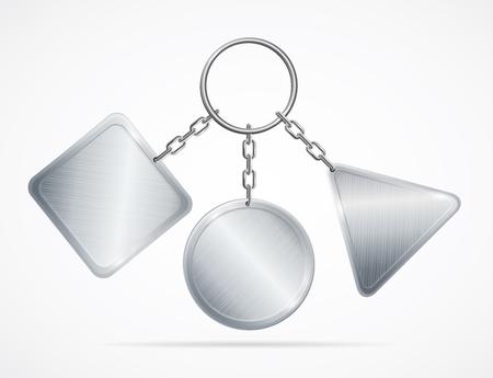 Realistic 3d Detailed Metal Key chains Set vector illustration