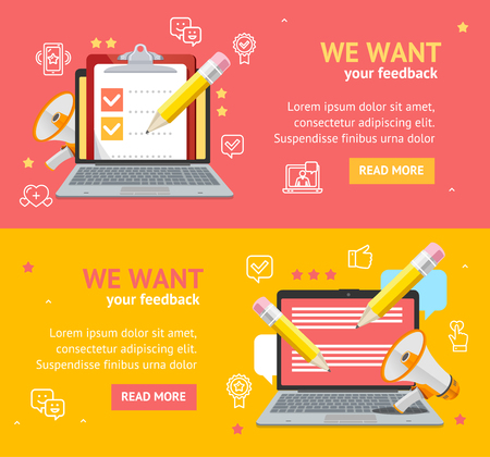 We Want Feedback Banner Card Poster Set. Vector