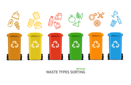 Waste Sorting Types Concept. Vector