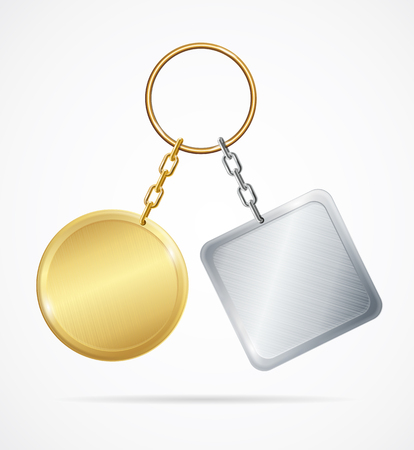 Realistic 3d Detailed Template Metal Keychains Set Golden and Silver Circle or Square Shapes Design Web Element. Vector illustration