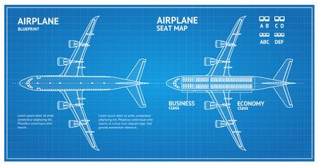 Airplane Blueprint Plan Top View. Vector Illustration