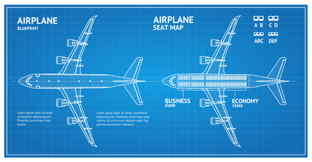 Airplane Blueprint Plan Top View. Vector Vettoriali