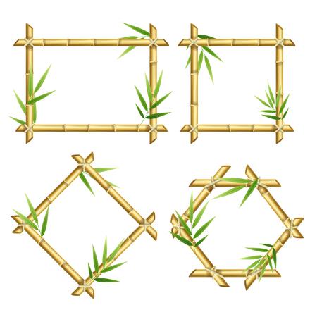 Realistic 3d Detailed Bamboo Shoots Frames Set. Vector Stock fotó - 94380838