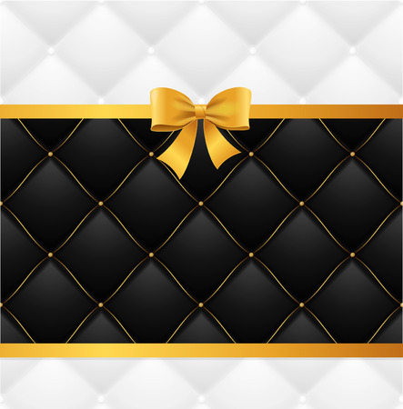 Card Silk Ribbon Bow And Quilted Background. Vector