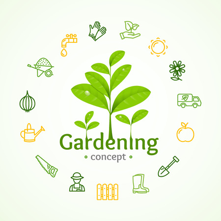Gardening Signs Round Design Template Line Icon Concept Vector