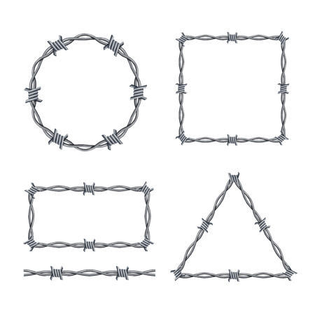 Realistic 3d Detailed Barbed Wire Frames Set Different Types Geometric Figures Include of Triangle and Rectangle. Vector illustration