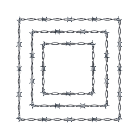 Realistic 3d Detailed Barbed Wire Frames Set. Vector