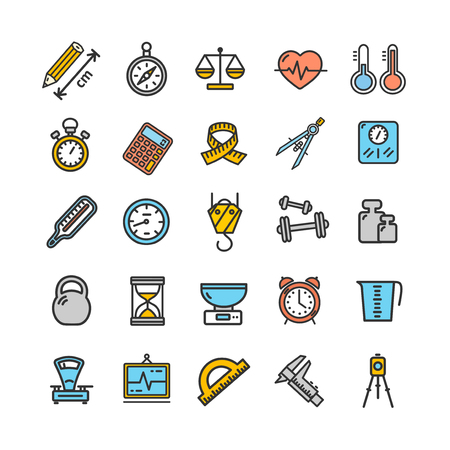 Measurement Signs Color Thin Line Icon Set. Vector Illustration