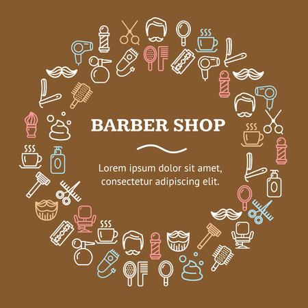 Barber Shop Round Design Template Line Icon Concept. Vector