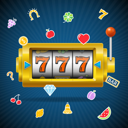 Casino Concept Slot Machine and Falling Color Icons.  イラスト・ベクター素材