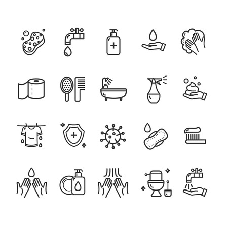 Hygiene Signs Black Thin Line Icon Set. Vector