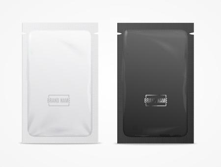 Bustina di lamina usa e getta 3d realistica dettagliata bianca e nera. Vettore