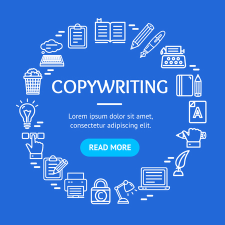 Writer and Copywriting Signs Round Design Template Line Icon Concept. Vector Stock Photo - 101094207