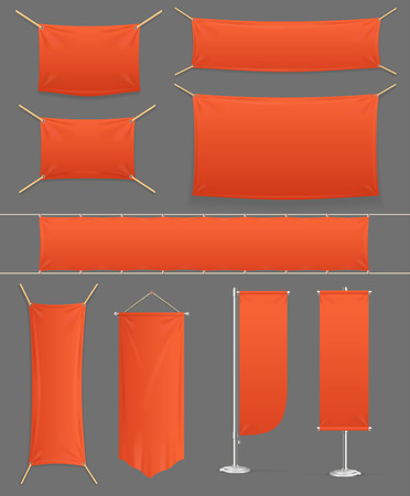 Realistic Detailed 3d Promo Red Banner Set. Vector