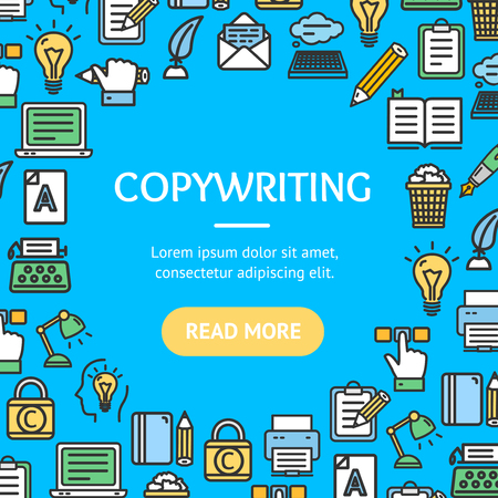 Writer and Copywriting Signs Round Design Template Line Icon Concept. Vector Illustration