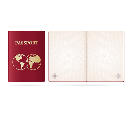Realistic Detailed 3d Passport Blank and Cover. Vector Illustration