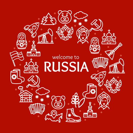 Russia Travel and Tourism Round Design Template Line Icon Concept. Vector